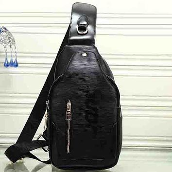 Perfect LV X Supreme Women Leather Backpack Daypack Satchel Crossbody