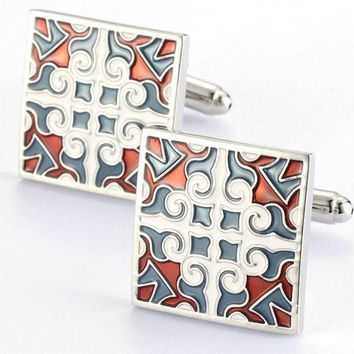 Retro Red and White Embroidered Square Cufflinks