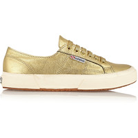 Superga Embossed metallic leather sneakers – 45% at THE OUTNET.COM