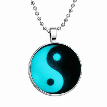 Vintage Yin Yang Pendant Necklaces Stainless Steel Chain Luminous Necklace