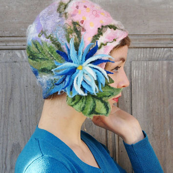 Hand felted cloche hat, retro style hat, designer hat, with blue flower and green leaves. OOAK