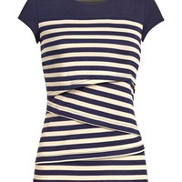 Striped Yoke Nursing Top in Navy