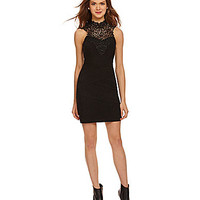Honey and Rosie Lace Yoke Sheath Dress - Black