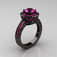14K Black Gold 1.0 Carat Pink Sapphire Wedding Ring, Engagement Ring R199-14KBGPS