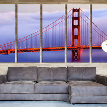 Golden Gate in Fog at Sunset Large Wall Art Canvas Print, Extra Large Skyline San Francisco Wall Art Print