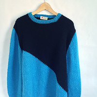 Vintage Color Block Sweater -- Electric Blue and Black -- Hand Knit -- 80s Geometric Pullover -- Fuzzy & Warm Winter Sweater -- Size Large