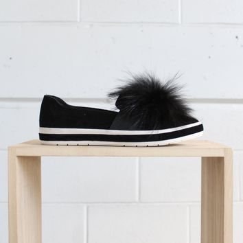 Romy Slip on Sneaker with Pom - Black