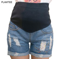 2017 Spring Summer Shorts Premama with Paint Hole Maternity Jean Shorts Care Belly Fashion Denim Shorts for Pregnant Short Pants