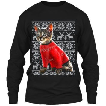 Ugly Christmas Sweater Cat  Christmas Cat Gifts Women LS Ultra Cotton Tshirt