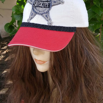 Red and Tan Women's Baseball Hat, Cowgirl BaSeball HaT, Bling HAT, Western Theme, Sheriff's HAT