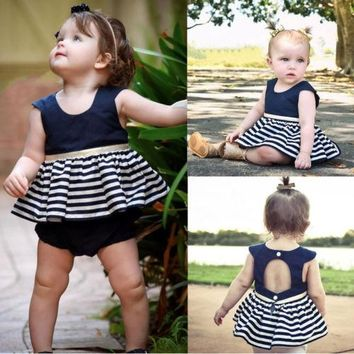 Stripes Newborn Girls Princess Dress 2017 Cute Kids Baby Ruffles Sleeve Backless Party Pageant Tulle Tutu Dresses