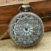Vintage pocket watch necklace with antique bronze heart zodiac and leaf charm
