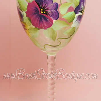 Hand Painted Wine Glass - Pansies - Original Designs by Cathy Kraemer