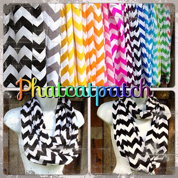 Black and White Chevron Scarf, Infinity Scarves,Cotton/Rayon Blend, Wide and Long, Zig Zag, Knit Jersey, Wholesale Available