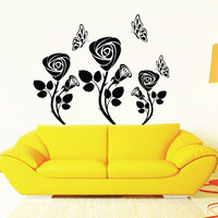 Flower Wall Decals Rose Butterfly Flowering Blossom Stickers Living Room Decor Vinyl Decal Sticker Art Mural Bedroom Kids Room Decor MR315