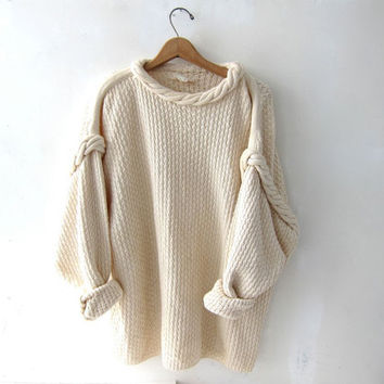 vintage natural cream cotton sweater. oversized sweater. braided knit sweater.