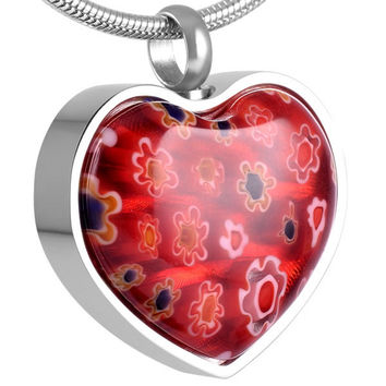 Red Heart Urn Necklace for Ashes - Cremation Memorial Keepsake Pendant