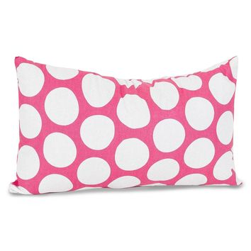 Hot Pink Large Polka Dot Small Pillow