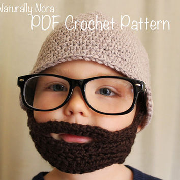 Crochet PATTERN-The Sam Beard & Beanie Four Sizes Included (Also available as a Made to Order item)