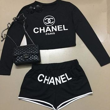 LMFON Chanel Fashion Cami Crop Long Sleeve Shirt Top Tee Pullover Shorts Set Two-Piece Sportswear