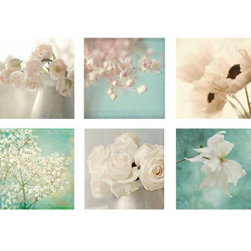 Six Ethereal Flower Photographs, Floral Art Prints, Flower Wall Decor, Shabby Chic Still Life, Pink, Mint