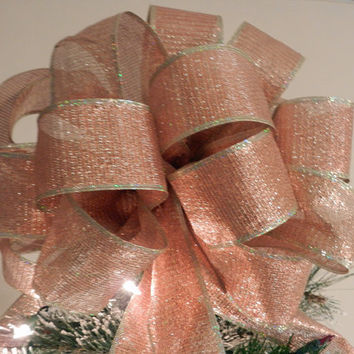 Large copper gold blend shimmery ribbon  Christmas Tree topper bow