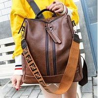 Fendi Fashion New Leather Travel Leisure Shoulder Bag Backpack Bag Women Brown
