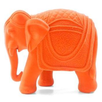 Neon Orange Boho Velvet Elephant Figurine
