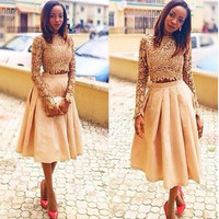 Cheap Two Pieces Champagne Tea Length Cocktail Dresses 2016 Sparkly Long Sleeve Short Prom Dresses Homecoming Party Gown