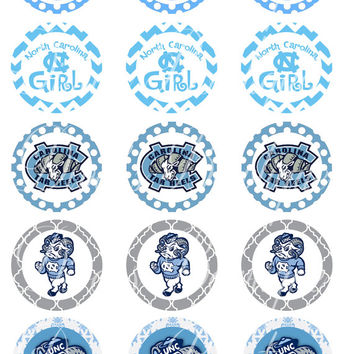 Bottle Cap Images  1 Inch 4 X 6  UNC Tarheel Girly  Buy 3 Get 1 Free Use for scrapbook, bottle cap, hair bows  Instant Download