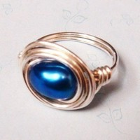 Cobalt Blue Freshwater Pearl Sterling Silver Wire Wrapped Ring | spiralsandspice - Jewelry on ArtFire