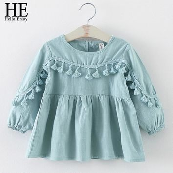 Autumn Toddler Girl Dress Long Sleeve Tassel Design Cotton Princess Dresses Girl Boutique Outfits