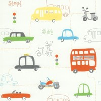 Brewster 56 sq. ft. Moto London Orange British Autos Wallpaper-443-90506 at The Home Depot