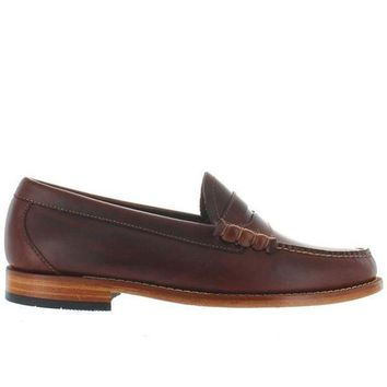 CREYONIG Bass Weejuns Larson - Seahorse Brown Leather Classic Penny Loafer
