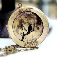 Locket  Bird Moon Swirl by MStevensonDesigns on Etsy