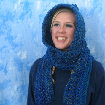 Crochet Teen / Adult Size Chunky Pixie Hat / Hood - Hooded Scarf - Scoodie - Lake Tahoe Blue - Warm - Thick- Ready-To-Ship