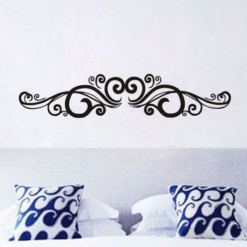 Symmetrical Swirl Flowers Wall Sticker Bedroom Headboard Vinyl Art Wall Decal Home Decor