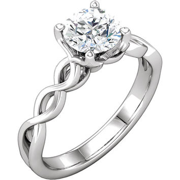 Twisted Band Solitaire Moissanite Engagement Ring