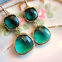 Emerald Green Earrings Gold Two Tier - Bridesmaid Earrings - Wedding Earrings - Christmas Gift