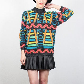 Vintage 1980s Sweater NEON Rainbow New Wave Charcoal Gray Cosby Sweater Hipster Pullover Fuzzy Knit Jumper Mod 80s Sweater M Medium L Large