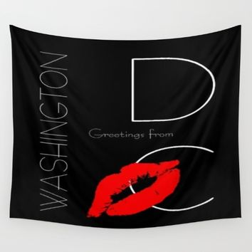 Red Lipstick Kiss Greetings from Washington DC Wall Tapestry by YourSparklingShop