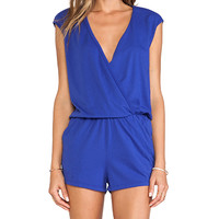 Bobi Supreme Jersey V-Neck Romper in Royal