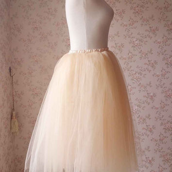 Apricot Tulle Skirt, Ladies Tulle Skirt,  Fashion Tutu Tulle Skirt, Petticoat, Ballerina Skirt, Birthday Party Tulle Skirt -Plus size(T1811)