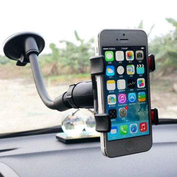 360 Rotating Flexible Long Arm Car Mount Double Clip Phone Holder Car Accessories