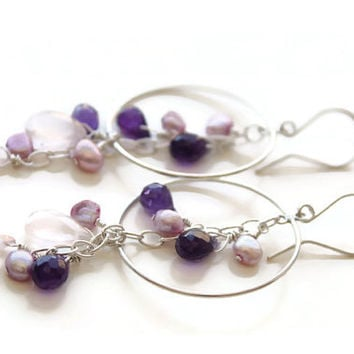 Sterling silver Earrings with gemstones, Amethyst, Rose Quartz and Pearls, Big hoops sterling silver , Long Silver Earrings, Prom 2015, gift