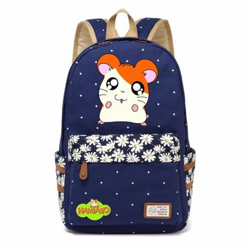 Hamtaro hamster lovely cute Canvas bag Flower wave point Rucksacks backpack Girls women School Bag travel Shoulder Bag Mouse
