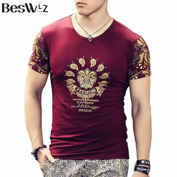 Summer New Tops Fashion Brand T Shirt For Men High Quality Cotton Short Sleeved O-Neck Novelty Print Tiger Design Male Tee