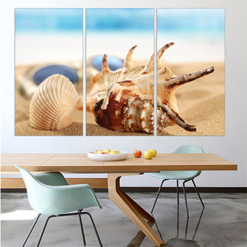 Modern Canvas Pictures Shells Seaview Landscape Beach Wall Posters and Prints Home Decor Oil Paintings for Living Room 3 Pieces