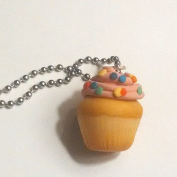 Sweet Cupcake Pendant, Polymer Clay Jewelry, Food