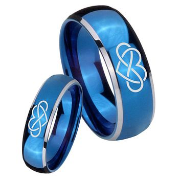 His Her Glossy Blue Dome Infinity Love Two Tone Tungsten Wedding Rings Set